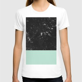Pastel Mint Meets Black Marble #1 #decor #art #society6 T-shirt