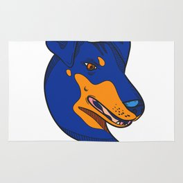 Manchester Terrier Dog Head Drawing Color Rug