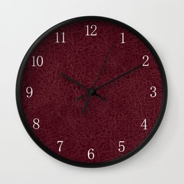 Red leather sheet background Wall Clock