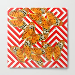 ORANGE BUTTERFLIES ON RED-WHITE GRAPHIC PATTERNS Metal Print