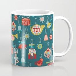 Teal Christmas Ornament Pattern Coffee Mug
