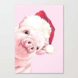 Sneaky Santa Baby Pig Canvas Print