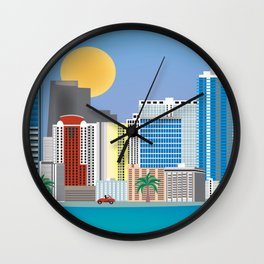 Miami, Florida - Skyline Illustration by Loose Petals Wall Clock