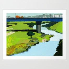 Man standing by river Art Print