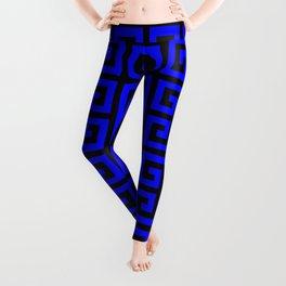 Greek Key (Black & Blue Pattern) Leggings
