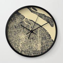 Shanghai Map #1 Wall Clock