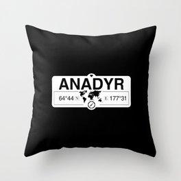 Anadyr Chukotka Autonomous Okrug with World Map Coordinates Throw Pillow
