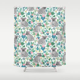 Cute gray koalas with ornaments, tropical flowers and leaves. Seamless tropical pattern. Shower Curtain