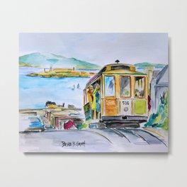 San Francisco Cable Car watercolor Metal Print