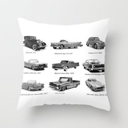 Classic Car Collection Throw Pillow