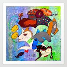 SERENE BARKS Art Print