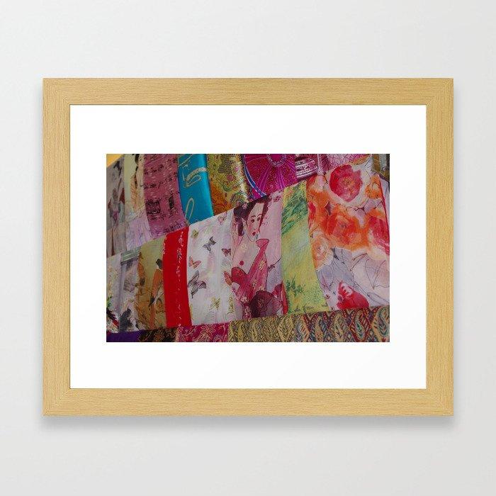 Silk Scarves in the market Framed Art Print