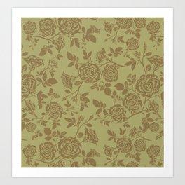 Rose tan and brown repeating pattern Art Print