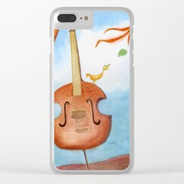 Bird and cello Clear iPhone Case