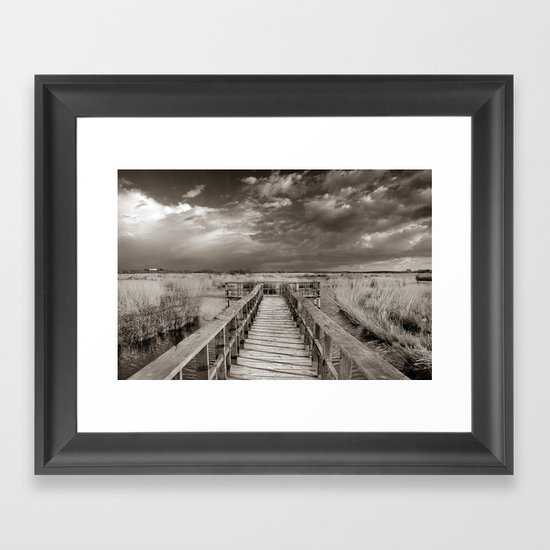 Stormy weather at the lake. Vintage Framed Art Print