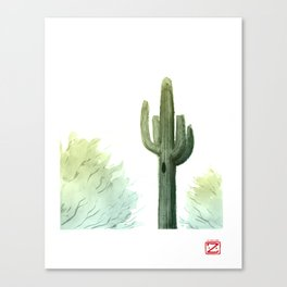 Saguaro and Bushes Canvas Print