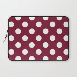Claret - purple - White Polka Dots - Pois Pattern Laptop Sleeve