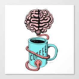 Coffee for the brain. Funny coffee illustration Canvas Print