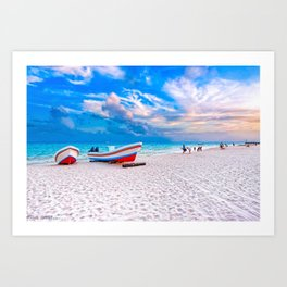 Boats Beached As Day Ends On Playa del Carmen - Mexico Art Print