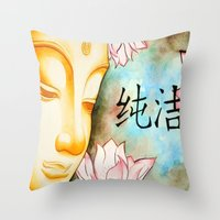 buddah Throw Pillows featuring Buddah (Purity) by JackiesGamingArt