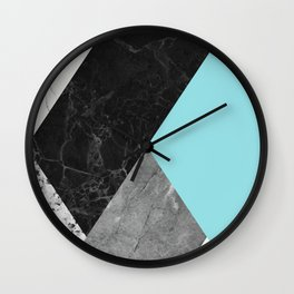 Black and White Marbles and Pantone Island Paradise Color Wall Clock