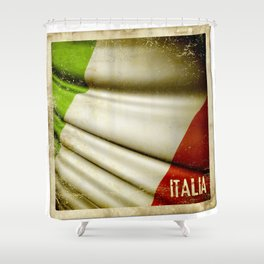 Grunge sticker of Italy flag Shower Curtain