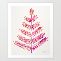 Leaflets – Pink Ombré Palette Art Print