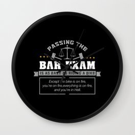 Passing The Bar Exam Is Easy As Riding A Bike For Lawyers Wall Clock