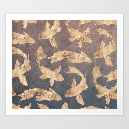 Koi at dusk - scratched leather Art Print