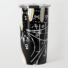 Black palmistry hand Travel Mug