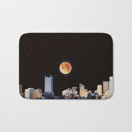 Blood Moon Over Pittsburgh Pennsylvania Skyline-Night Sky and Stars Bath Mat