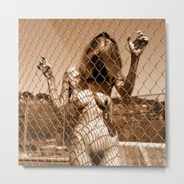 Fenced In (Nude Photography) Metal Print