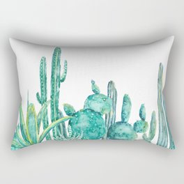 green cactus jungle watercolor Rectangular Pillow