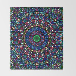 Colorful Church Window Mandala Throw Blanket