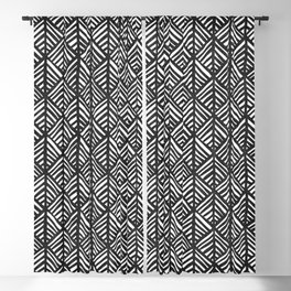 Abstract Leaf Pattern in Black and White Blackout Curtain