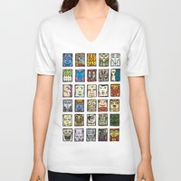 faces V-neck T-shirts featuring Faces by Jason Covert