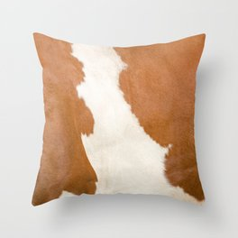 Brown Cowhide v3 Throw Pillow