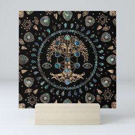 Kabbalah The Tree of Life Abalone and Gold Mini Art Print