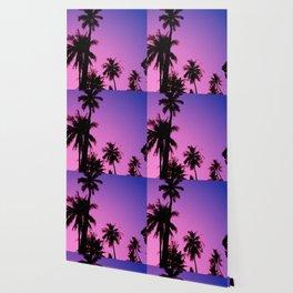 Tropical palm trees with purplish gradient Wallpaper