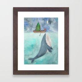 When a whale likes Christmas Framed Art Print