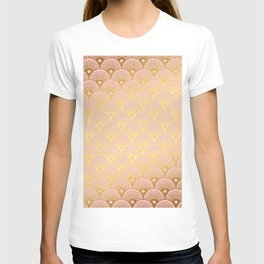 Gold and pink sparkling Mermaid pattern T-shirt