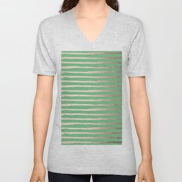 Abstract Stripes Gold Tropical Green Unisex V-Neck