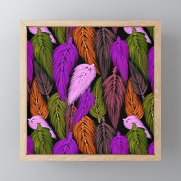 Watercolor Macrame Feather Toss in Black + Boho Purple Orange Framed Mini Art Print