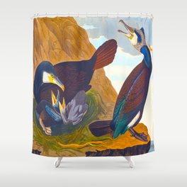 Great crested grebe James Audubon Vintage Scientific Illustration American Birds Shower Curtain