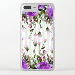 Modern lavender purple pastel green floral stripes Clear iPhone Case