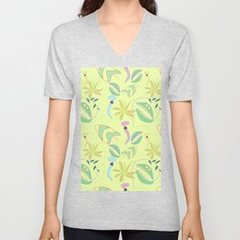 Funny carnivorous plants drawing seamless pattern Unisex V-Neck