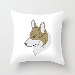 Welsh Corgi Pembroke - one line drawing Throw Pillow