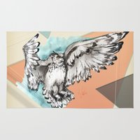 mcfly Area & Throw Rugs featuring Owl McFly by carographic by carographic watercolor portraits