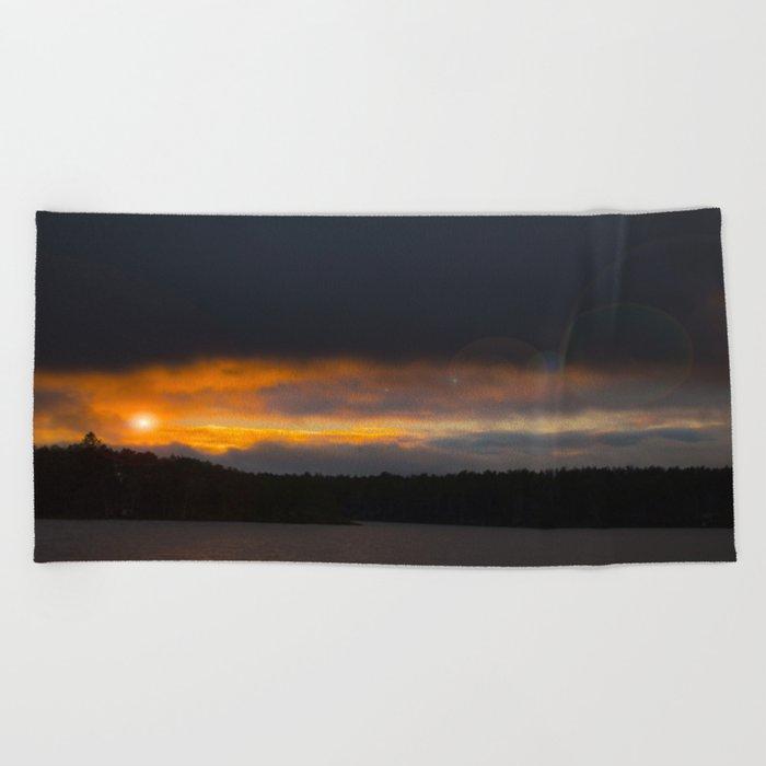October Cloudy Sunset #decor #buyart #society6 Beach Towel