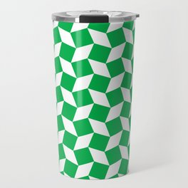 Green Op Art Pattern Travel Mug